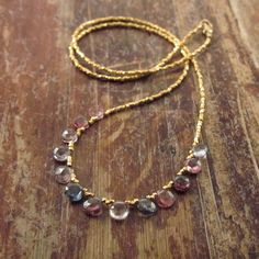 Multicolored Spinel Necklace with 24K Gold by TwoFeathersNY, $150.00