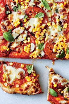 A sprinkling of cornmeal keeps the dough from sticking to the pizza stone and gets the bottom of the crust extra-crispy. If you don't hav. Corn Recipes, Pizza Recipes, Lunch Recipes, Vegetarian Recipes, Cooking Recipes, Healthy Recipes, Recipies, Tomato Side Dishes, Vegetable Dishes