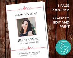Funeral Program Templates Memorial Ideas Funeral Program