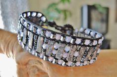 PINK & GRAY Leather Wrap Bracelet with by BraceletsofBlueRidge, $62.00