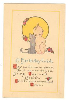 Judy's Postcards Plus: Kewpie Postcard 1917 She loves her cat