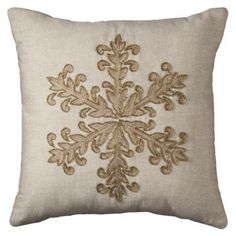 """I have this thing for pillows. To me that can be like little pieces of textile art that communicate warmth and welcome. The monotone of the design and fabric is richly accented by the thread of the embroidery giving it tactile appeal.  Threshold&#153 Aplique Snowflake Pillow - 18x18"""""""