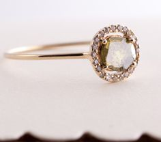 Diamond Slice  Ring, Yellow 14K Gold Ring, Engagement Ring, Modern Engagement Ring, Rose Cut Diamond, Diamond Slice, Green Diamond.