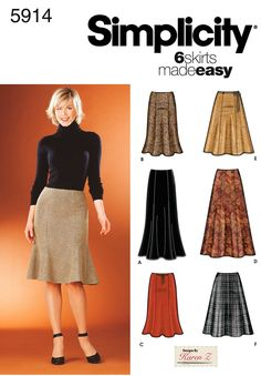 Simplicity 5914 Misses Skirts Misses Skirts