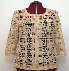 Lace beige-colored Lady Hirka , dantel-bej-renkli-bayan-hirka , Bluz Source by Crochet Coat, Crochet Jacket, Crochet Cardigan, Filet Crochet, Crochet Clothes, Abaya Mode, Diy Crafts Knitting, Beige Color, Top Pattern