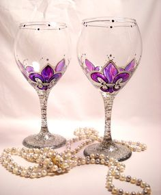 Amethyst Wine Glasses Hand Painted, Purple Fleur de lis Wedding Painted Pair. $55.00, via Etsy.
