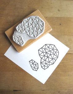 Crystal Configuration 26  Hand Carved Stamp by extase on Etsy, $14.00