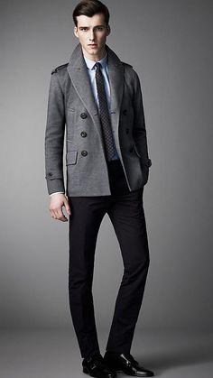 Burberry London Double Cotton Jersey Pea Coat