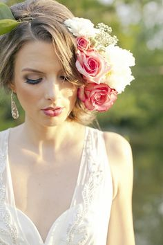 A bride at sunset and some stunning headpieces