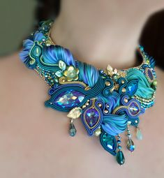 """LIZ"" Necklace - Designed by Serena Di Mercione - Soutache, bead embroidery. --- Shibori silk ribbon, Swarovski, pearls"