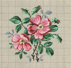 Prelepa starinska šema sa motivom divlje ruže.