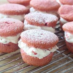 Sweet strawberry cakes are stuffed full with a mascarpone cheese and strawberry filling.