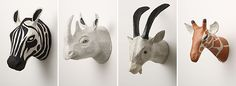 Paper mache animal heads from Anthropologie. I want all of these for my apartment!