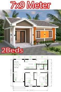 Gable Roof, Small House Plans, Car Parking, Beds, Home And Family, How To Plan, Home, Little House Plans, Tiny House Plans