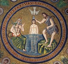 Arian Baptistery, Ravenna - Detail of ceiling mosaic, depicting the Baptism of Christ surrounded by apostles.