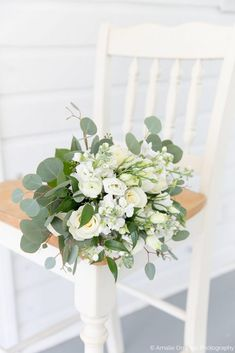 Simple White and Green Bridal Bouquet | Rustic Romantic Wedding at Up the Creek Farms http://www.thecelebrationsociety.com/weddings/rustic-romantic-wedding-at-up-the-creek-farms/