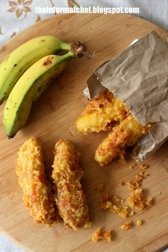 """Crispy Fried Banana/Pisang Goreng 炸香蕉  Pisang Goreng, typical Malaysian (and Southeast Asian snack). This recipe would yield you some very crispy fried bananas that last for hours. The secret is to coat the frying bananas with another layer of crispy bits or """"kremes"""". The crispiness could last up to 2 hours. Find out more from the links below:"""