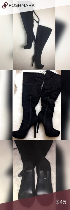 Faux Suede BOOTS❤️ These faux suede over the knee thigh high boots are so sexy and a must have for your shoe closet! They are Brand New!  They come with an inside zipper and they also lace up at the back of the boot. SUPER SEXY! The heel is 5inches but there's a platform on the inside for steadiness and comfort Shoes Lace Up Boots