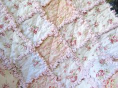 Shabby Baby Girl Quilt Baby Rag Quilt Pink by LittleTreasureQuilts