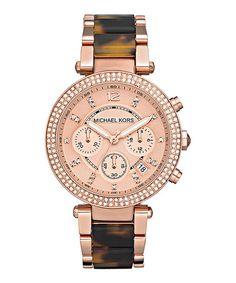 Rose Gold & Tortoise Parker Chronograph Watch - Women by Michael Kors #zulily #zulilyfinds