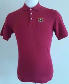 BURBERRYS Polo SHIRT Red MENS No SIZE Tag MEDIUM to LARGE Mens SZ Crest LOGO Man #Burberry #PoloRugby