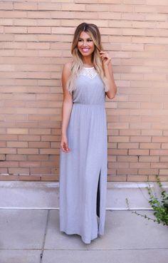 Fall Transition Fashion    http://www.dottiecouture.com/heather-grey-crochet-top-maxi-dress/