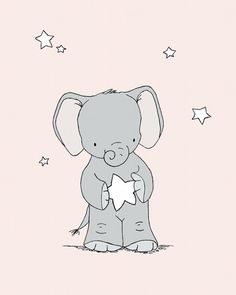 Elephant Nursery Art -- Pink and Grey Nursery Decor -- Baby Elephant Holds A Star -- Children Art Print, Kids Wall Art
