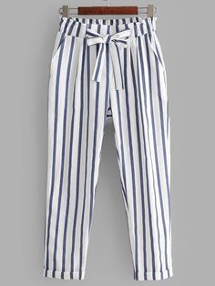 Product name: Vertical-Striped Rolled Hem Pants at SHEIN, Category: PantsStriped Bowknot High Waisted Pants - White - White M - zafulTo find out about the [good_name] at SHEIN, part of our latest Pants ready to shop online today! Fashion Pants, Fashion Dresses, Salwar Pants, How To Hem Pants, Rolled Hem, Vertical Stripes, Pants Pattern, High Fashion, Fashion Women