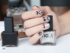 Graphic nails with NCLA Nail lacquers Autumn nail design