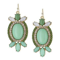 Stone Deco Statement Earrings [EHE4424GDGN] : Wholesale24x7.com - Fashion Scarves and Accessories Wholesale, One Stop Wholesale Shopping for Scarves, Jewelry and Fashion Accessories!