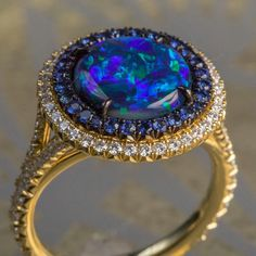 Forget about the whole world in your hand - how about the whole world on your finger? We love the shape and pattern of this black opal ring from the Duet Collection. #onlyomi #omiprive