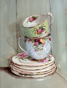 PRINT ON PAPER - Two Stacked Tea Cups in a Vintage Cupboard - FREE POSTAGE WORLD WIDE