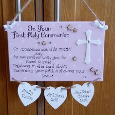 Personalised On Your First Holy Communion Gift Plaque, Son, Daughter, Baptism, Confirmation Day, Star, Cross, Faith, Custom Sign
