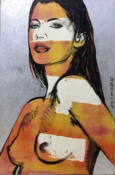 DAVID BROMLEY Nude Cheyenne Polymer & Silver Leaf on Canvas 90cm x 60cm