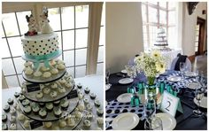 cheerful cupcakes in black, white and tiffany blue by Gourmet Cakes, Glass Slipper, Tiffany Blue, Wedding Cakes, Custom Design, Polka Dots, Black White, Cupcakes, Cupcake