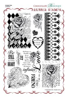 Chocolate Baroque ($36.13) from UK. Harlequin Rose Rubber Stamp Sheet - A4