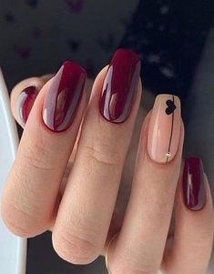 new years nails acrylic ~ new years nails ; new years nails acrylic ; new years nails gel ; new years nails glitter ; new years nails dip powder ; new years nails design ; new years nails short ; new years nails coffin Cute Acrylic Nails, Cute Nails, Pretty Nails, Burgundy Nail Designs, Burgundy Nails, Dark Red Nails, New Years Nail Art, Red Manicure, Shellac Nails