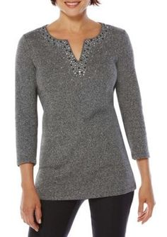 Rafaella Salt  Pepper Embellished Top