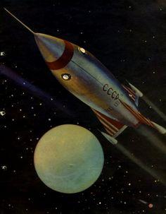 """As we were flying on a rocket"" (artist V.Gortinsky), 1963."