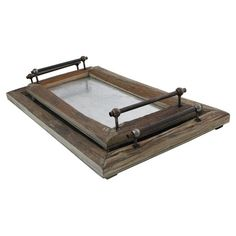 Set of 2 rustic wood trays.  Product: Small and large trayConstruction Material: WoodColor: Natu...