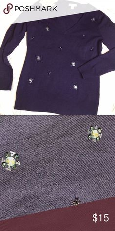Purple embellished sweater New York and Co Gray sweater in awesome condition. Perfect for the holidays. Size medium New York & Company Sweaters V-Necks
