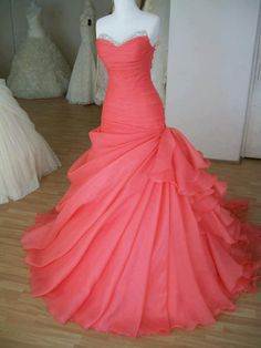 Welcome to you charming girl! Fabric: Organza Silhouette: Ball gown Occasion: Prom, evening party Shown Color: Watermelon Neckline: Sweetheart Waistline: Natural Sleeve length: Sleeveless Hemline/train: Sweep Train Embellishment: Beadings Processing time is 15 Business Days Ship