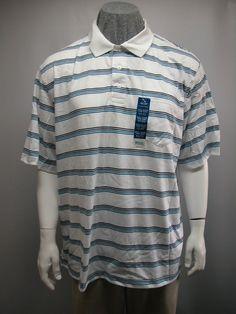 NWT Puritan Top 2XL (50/52) Men Polo Shirt White Striped SS Comfortable Casual #Puritan #PoloShirt #Casual