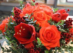 Bouquet Baroque flamboyant : roses, amaryllis - Livraison de fleurs avec Aquarelle.com