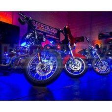 Image via LED lights on bike Image via 10 amazing world: LED Lights for Motorcycles Image via Motorcycle Accent LED Lights White Motorcycle, Motorcycle Images, Led Light Kits, Led Headlights, Flexibility, Bike, Buckets, Lighting, Mobiles
