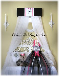 PERSONALIZED Bed Canopy Crown Crib Teester SaLe Black Bright Pink Princess Embroidered by SoZoeyBoutique on Etsy