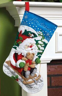 Bucilla Felt apliques Navidad que almacena Kit: Trineo de Santa Claus