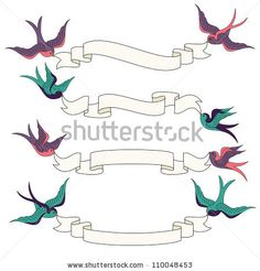 stock vector : Swallows Flying with Banners Vector Set