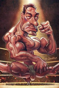 Jean-Claude Van Damme by Anthony Geoffroy 🇫🇷 Cartoon Faces, Funny Faces, Cartoon Art, Funny Caricatures, Celebrity Caricatures, Caricature Drawing, Comic Drawing, Tee Illustration, Comics Und Cartoons
