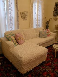 Furniture slipcovers made from vintage chenille bedspreads. Love these.